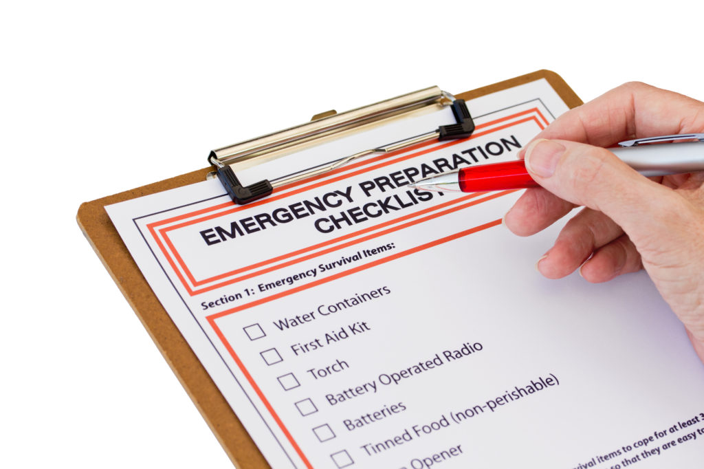 Emergency preparedness form - Isolated on White